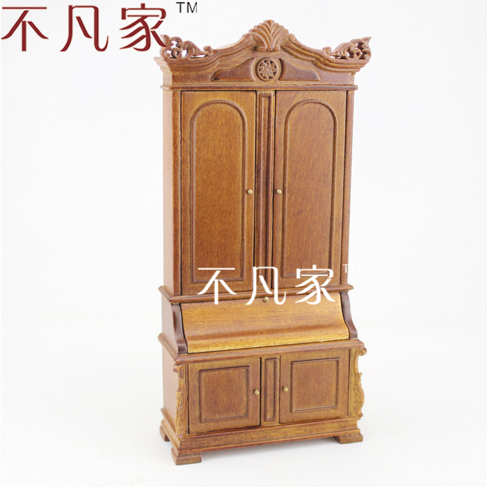 Fine 1/12 scale miniature furniture grand wooden cabinet for dollhouse