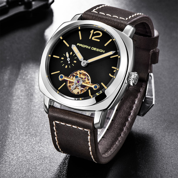 PAGANI DESIGN Luxury Tourbillon Mechanical Watches Luminous Genuine Leather Fashion Casual Skeleton Automatic Watch dropshipping