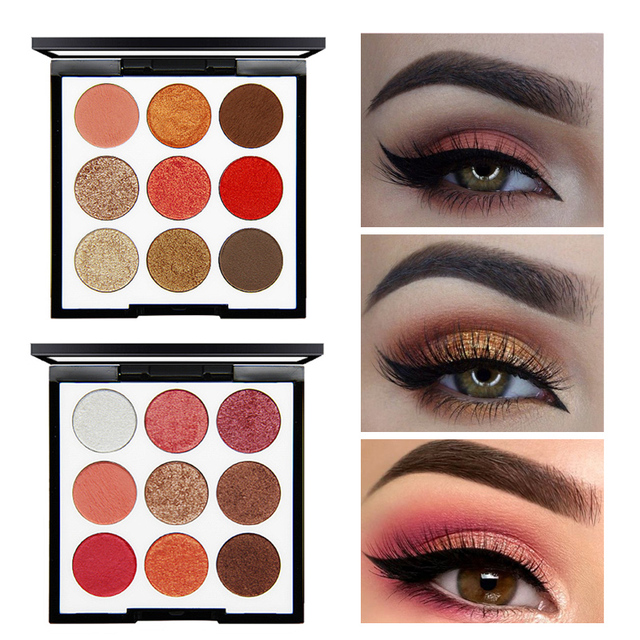 NOVO New Shimmer Red Eyeshadow Waterproof Mineral Powder 9 Color Shadows  Eye Palette Pigment Makeup Christmas Women Gift 8df46141d565