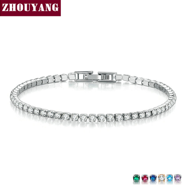 ZHOUYANG Bracelet For Women Luxury Multicolor Optional 2.5mm CZ Crystal Rose Gold Silver Color Party Gift Fashion Jewelry KC128