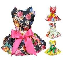 Платье для собак с милыми цветами и лентами; Одежда для собак; удобная рубашка без рукавов для собак; платье для домашних животных; сарафан; вечерние платья принцессы с юбкой для маленьких собак