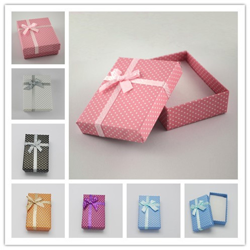 12pcs Cardboard Jewelry Set Boxes for Necklaces and Pendants with Bowknot Outside and Sponge Inside Rectangle 90x70x30mm