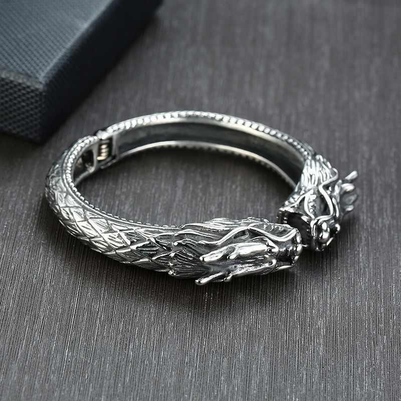 Vantage srebrna bransoletka mankietowa ze stali nierdzewnej smok bransoletka Heavey Punk Chunky Viking jewelry