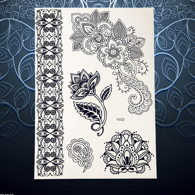 Top Quality Black Henna Temporary Tattoo Sticker Large Flower