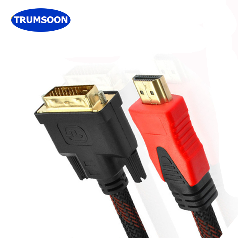 Trumsoon HDMI to DVI Converter Cable 24+1 pin Adapter Male to Male Cable for 1080P HDTV PC XBOX Projector 1.5m 3m 5m 10m gold plated hdmi to dvi 24 1 pin cable cord dvi male adapter 1080p dvi cable adaptor for hdtv ps3 xbox