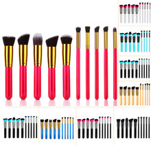 CREEZE 10pcs Makeup Tool Kit Candy Colors Synthetic Hair Wood Handle Blush Foundation Eye Shadow Brush 22Colors