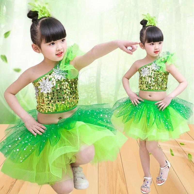 Children Green Jazz Hip Hop Dance Dress Sequins Kids Latin Modern Dance Catwalk Costumes Stage Performance Ballroom Dancewear