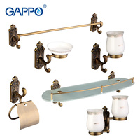 Gappo 6PC Set Bathroom Accessories Soap Dish Double Toothbrush Holder Paper Holder Towel Bar Glass Shelf