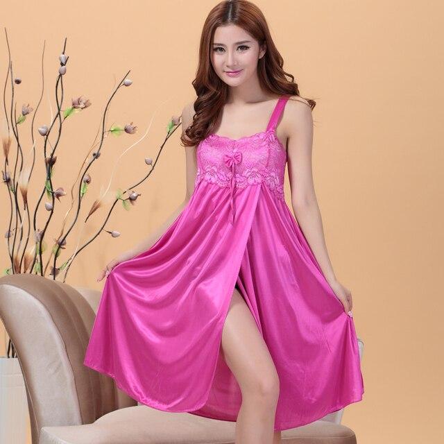Sexy silk long nightgowns