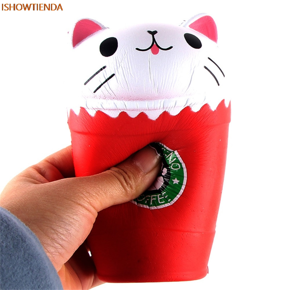 14cm PU Cut Cappuccino Coffee Cup Cat Scented Squishy Slow Rising Squeeze Toy Collection Cure Gift Stress Relief Reliever