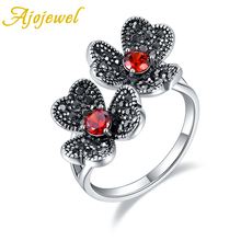 Ajojewel Size 5.5-9 Vintage Red/Clear Zircon Double Flowers Ring With Black Rhinestones Elegant Open Anel For Female New 2019