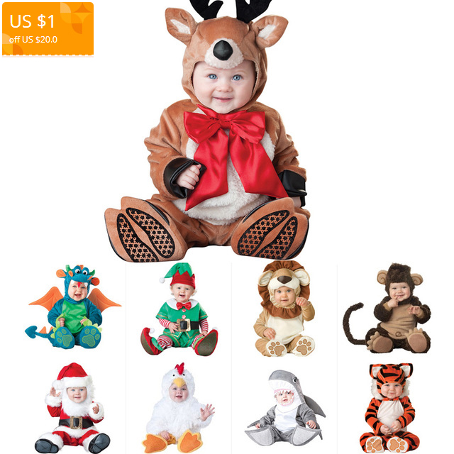 0fbf9d89cd15 Novel Christmas Halloween Costume Infant Baby Boys Girls Deer kangaroo  Shark Rompers Cosplay Newborn Toddlers Clothing