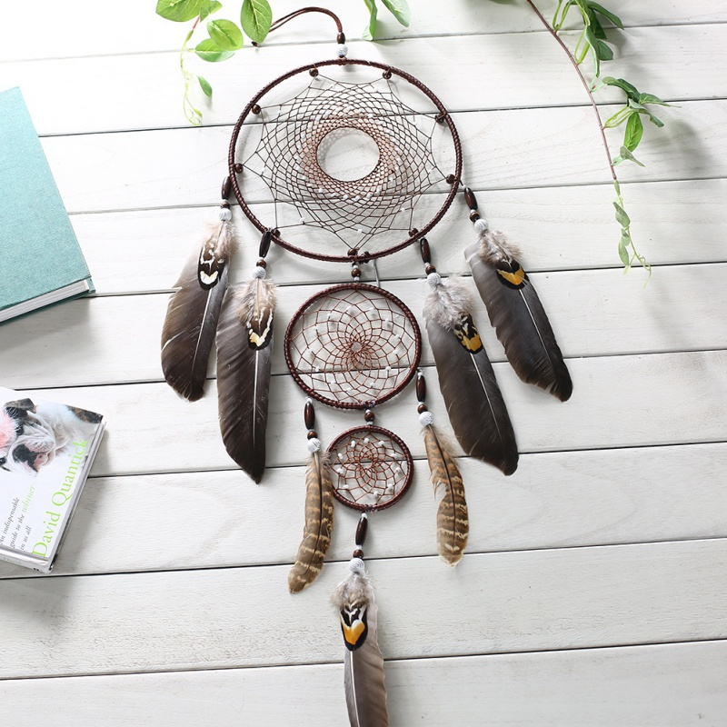 Feather Crafts Dream Catcher Wind Chimes Indian Feather Pendant Dreamcatcher Handmade Silver Bead Dream Catcher Wind Chimes