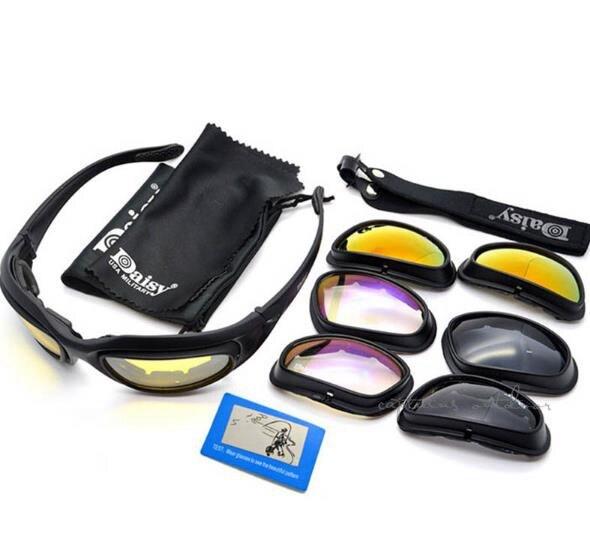 Prix pour Deisy Polarisées Désert lunettes de Soleil 4 lentilles Lunettes Tactique C5 Lunettes Protection Des Yeux Pour Airsoft UV400 Lunettes