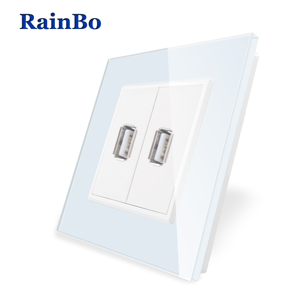 RainBo Brand Wall USB Socket Power NEW EU Wall Socket EU Standard USB Power Socket  Crystal Glass Panel A182USW/BRainBo Brand Wall USB Socket Power NEW EU Wall Socket EU Standard USB Power Socket  Crystal Glass Panel A182USW/B