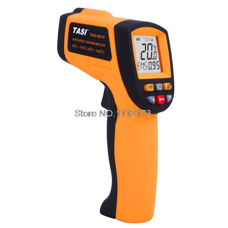Digital IR Infrared Thermometer TASI-8610 -50C~700C Degree Non-contact Industrial Laser Infrared Thermometer Gun Free shipping