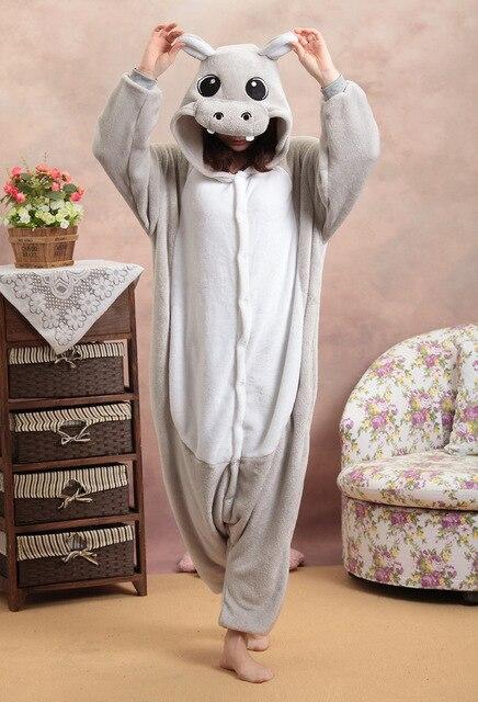 Бегемот Пижама-комбинезон Комбинезоны для женщин Комбинезоны для малышек  для взрослых животных Sleepsuit пижамы костюм ff61534a6789c