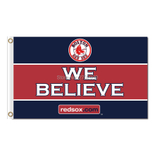 We Believe Custom Text Boston Red Sox Flag Fans Baseball Team Custom Banners Major League Baseball Flags Banner 100D Polyester