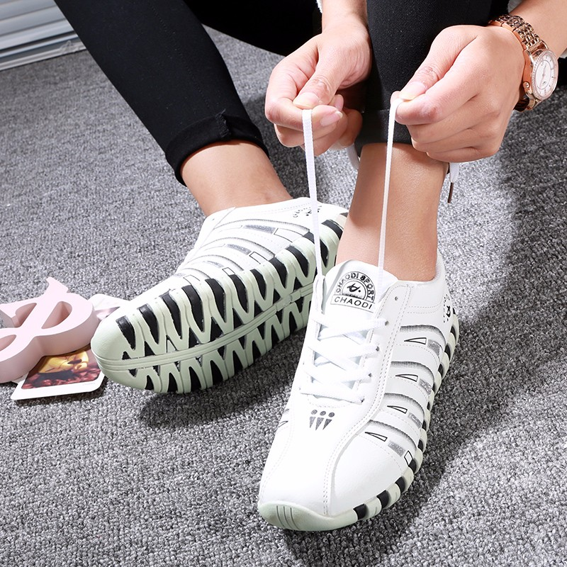KUYUPP Fashion Breathable Leather Women Casual Shoes Lace Up Woman Trainers Outdoor Women Low Toe Shoes Zapatillas Mujer YD122 (40)