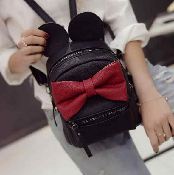 2020 new Baby girls kids backpack Cartoon cute butterfly knot Minnie backpack princess Mini Bag bow ears black pink gray