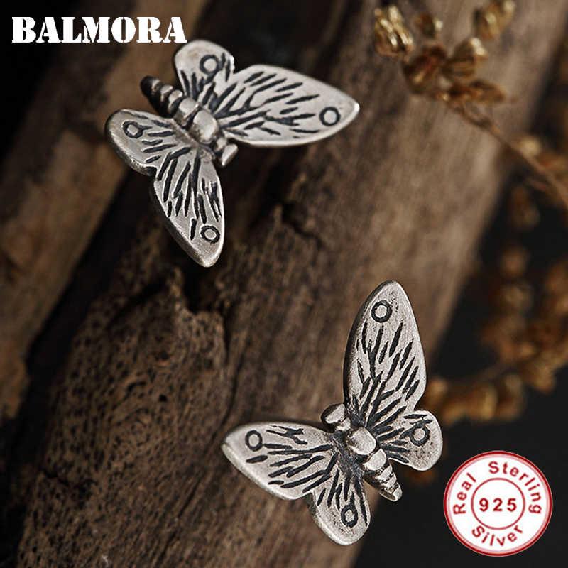 BALMORA 925 فضة ريترو الفراشة وأقراط للنساء الأم سيدة هدية العرقية أنيقة مجوهرات الأزياء Brincos