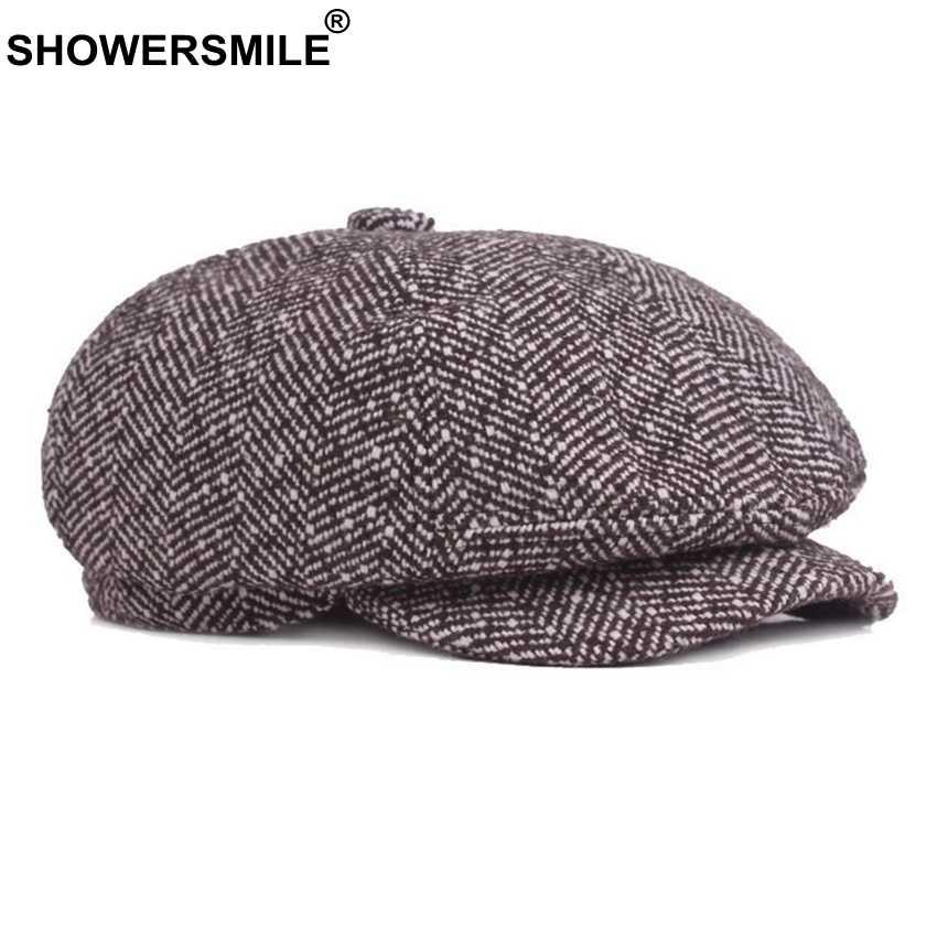 c74c6236ab ... SHOWERSMILE Newsboy Hat Men Herringbone Octagonal Cap Brown British  Vintage Brand Duckbill Autumn Winter Gatsby Beret ...