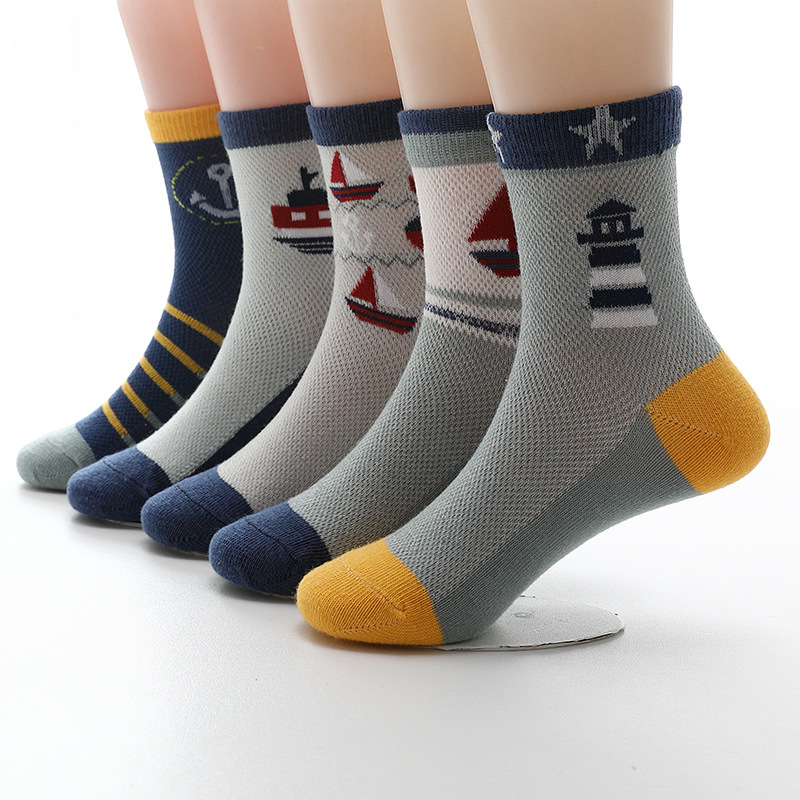 Mesh Girls Socks Boys Summer Spring Cotton 5-Pairs/Lot New Kids Breathable 3-15 Year title=