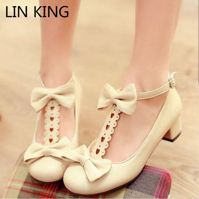 LIN KING Spring Clinched Thick Heel Cutout Laciness Bow Lolita Sweet Shoes Low Heeled Woman Lady Pumps Square Heel Party Shoes