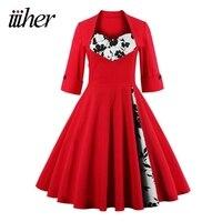 Iiiher Marke Druckblumen Frauen Herbst Vintage Kleid Plus Größe S ~ 5XL Retro 60 s Rockabilly Party Schaukel Kleider Feminino Vestidos