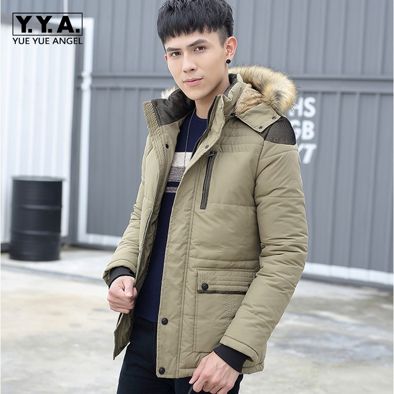Top Brand Winter Jacket Men Fleece Lining Warm Male Parkas Fashion Fur Trim Hooded Coat For Men Thicken Ovecoats Large SizeM-5XL