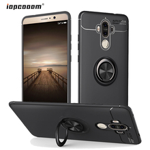 купить For Huawei Mate 9 Case Luxury Soft Silicone With Stand Ring Shockproof Protective Back Cover cases for huawei mate 9 pro coque дешево