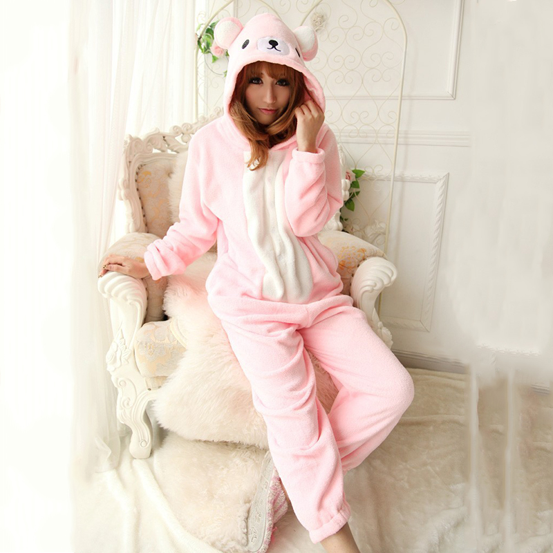 Pink Color Rilakkuma Onesies Pajamas Cosplay Costume For Christmas Halloween Party Cartoon Bear Sleepwear Pyjamas for Women Girl