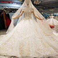 327414 High End чистый белый свадебное платье с кружевом и вышивкой короткий рукав бисером вуаль Элегантное свадебное платье