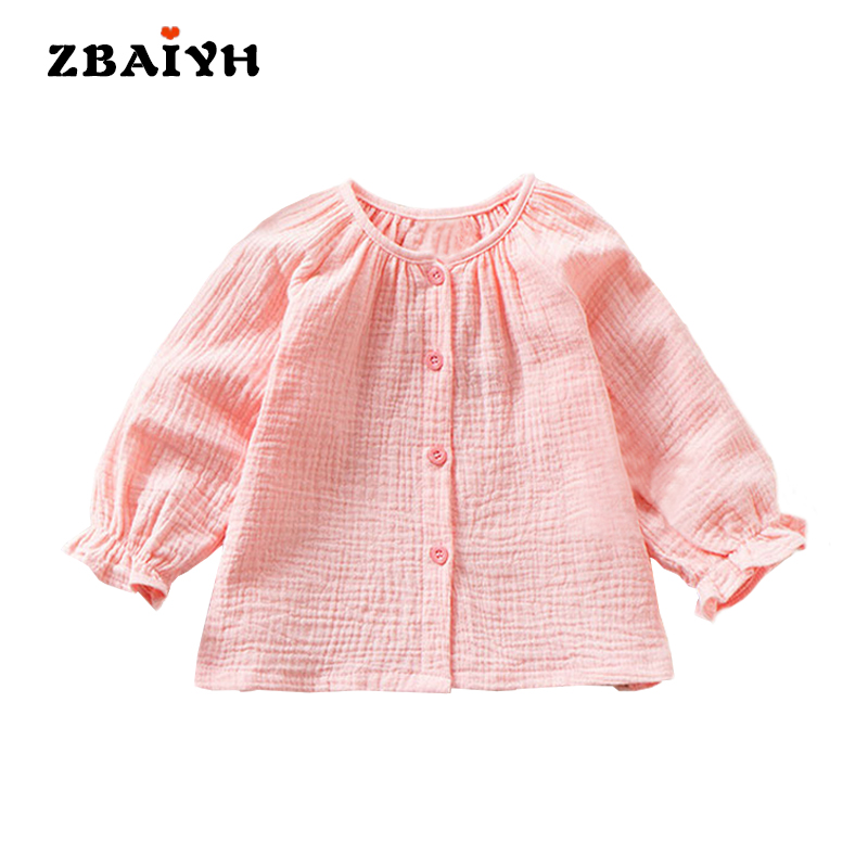 Newborn Clothes Blouse Baby Girl Todder Cotton Linen Ruffles Shirt + Detachable Collar Infant Tops Kids Coat For Spring Summer