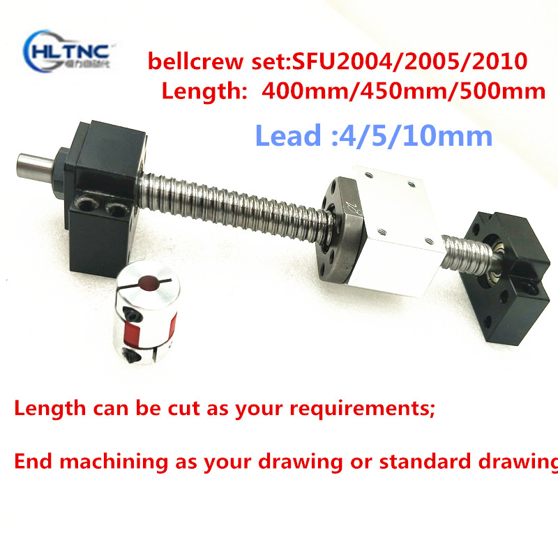 high quality linear guide ball screw SFU2005 400450500mm + ball screw end supporter BK15BF15 + nut housing DSG20H+ coupling