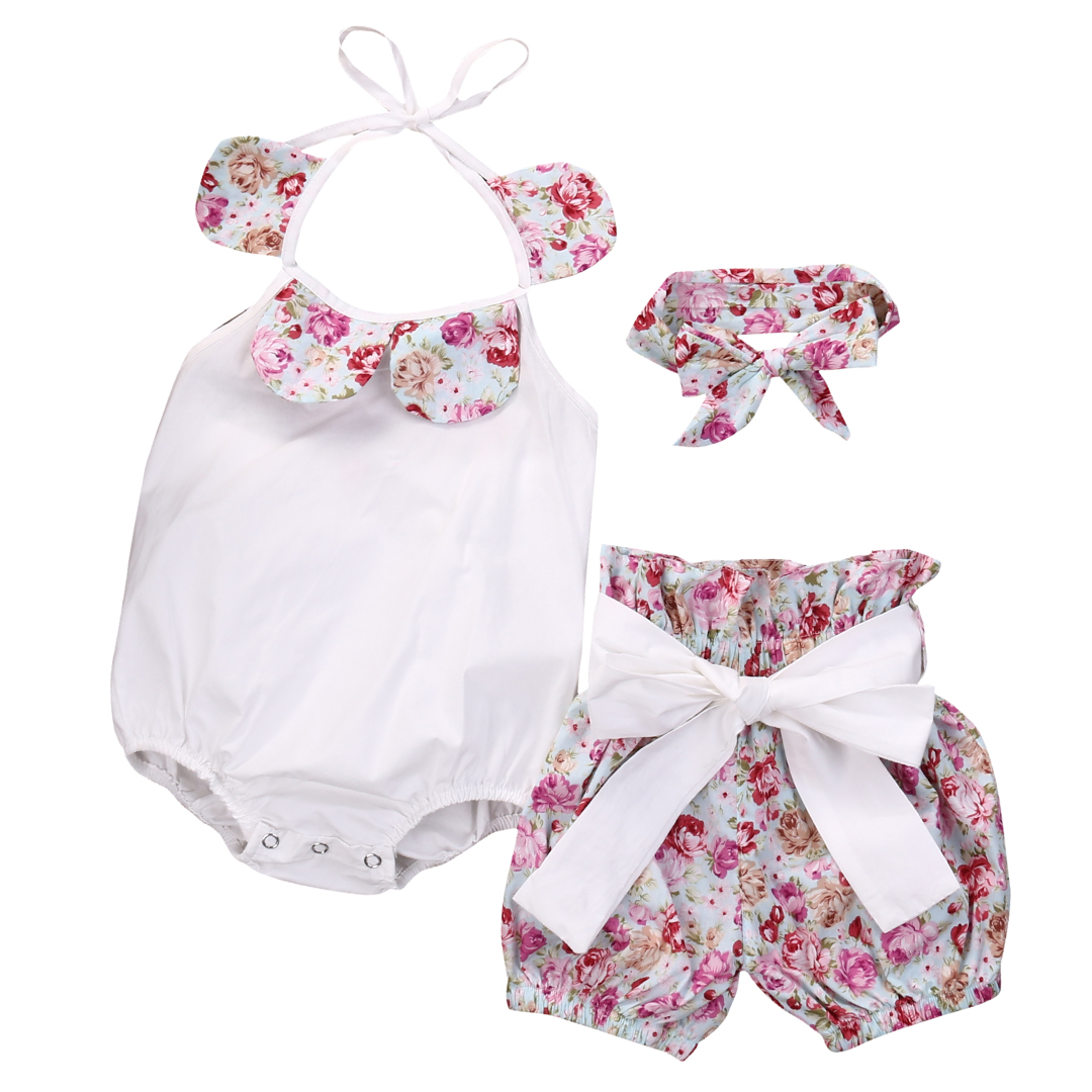3PCS Cute Newborn Infant Toddler Baby Girl Floral Romper Jumpsuit Shorts Pants Headband Casual Outfits Set puseky 2017 infant romper baby boys girls jumpsuit newborn bebe clothing hooded toddler baby clothes cute panda romper costumes