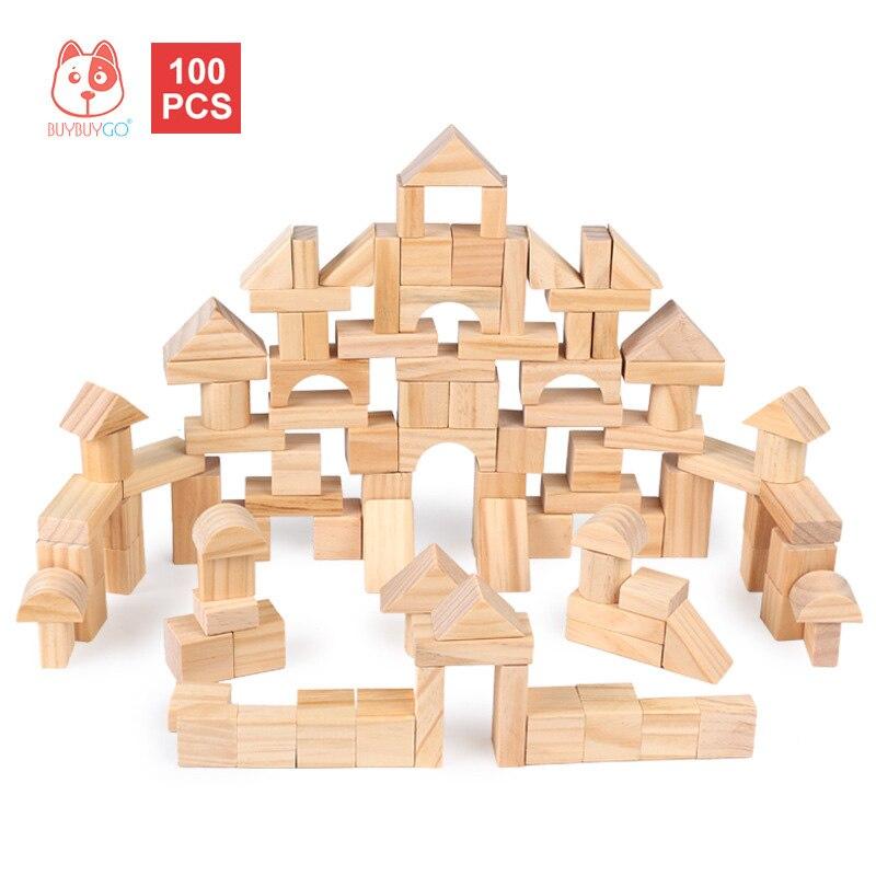 Деревянные часы строительные блоки 100 шт. сосновый лес ребенка до кучи игрушки деревянные зеленый Краски-Бесплатная блоки раннего обучения ...