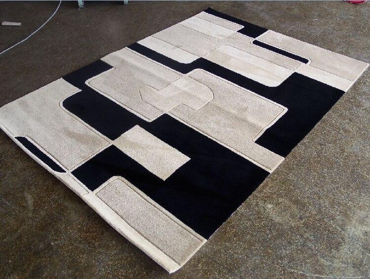 Salon personnalisé table basse chambre moderne minimaliste étude en noir blanc mode Plaid fait main tapis acrylique alfombras