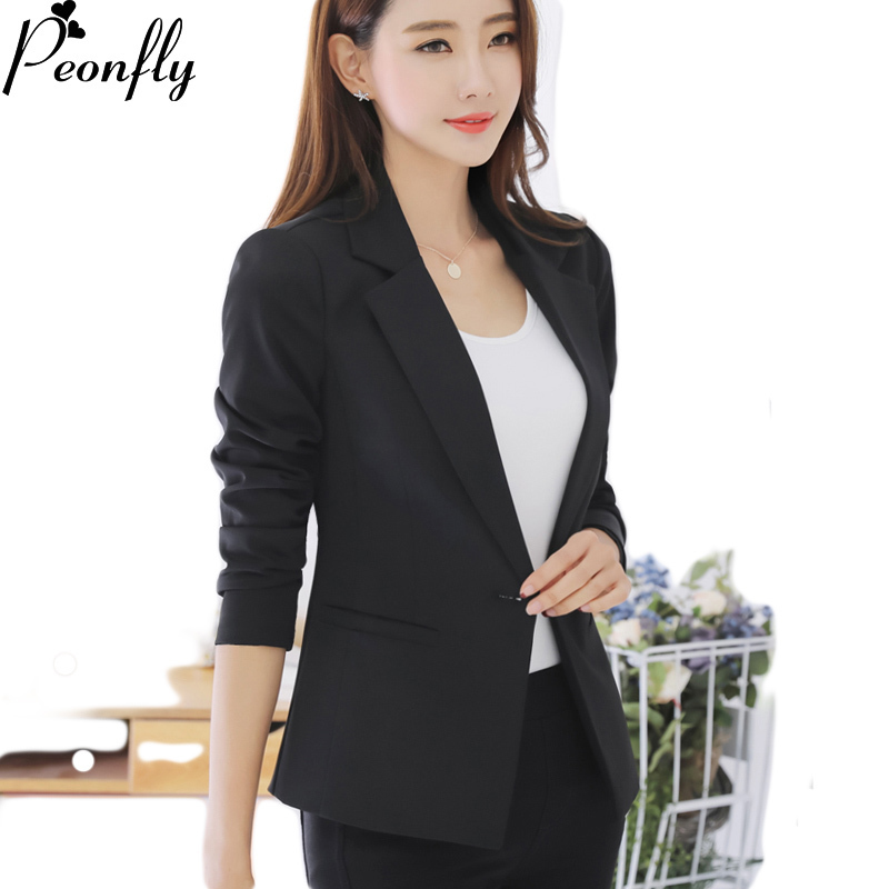 PEONFLY  Female Coats Blazer Spring Summer Long Sleeve One Button Jacket Women Balck Jackets Office Blazer