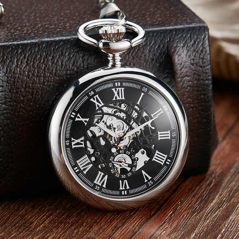 Vintage Silver Smoothly Design Hollow Number Dial Mechanical Pocket Watch Men Chain Unique Steampunk Mechanical Watch Clock