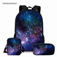 Twoheartsgirl Multicolor Galaxy Star Space Backpack for Teenage Girls Boys Classic Unique Children Bagpack Student Kids Rucksack