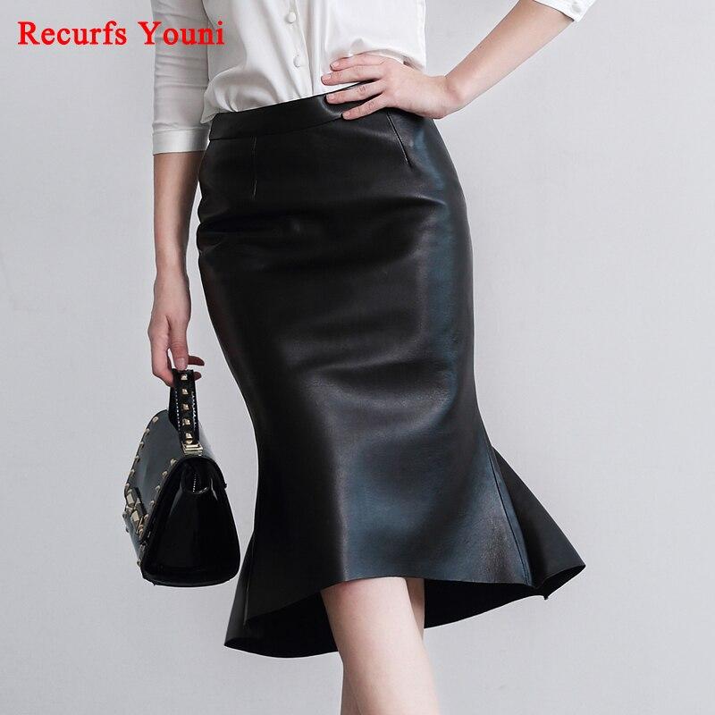 RYS6321 Spring NEW Genuine Leather 60 CM Long Maxi Skirt Women OL Fish Tail Ruffles Slim
