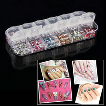 Nuevo 3000 unids/caja Mix 12 Color Beads Círculo Redondo de Manicura Del Arte Del Clavo Glitters DIY Nail Art Gems Decoración A0114