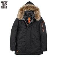 TIGER FORCE 2017 Padded Parka Men Polyester Coat Winter Jacket Mens Fashion Thick Parkas Artificial Fur