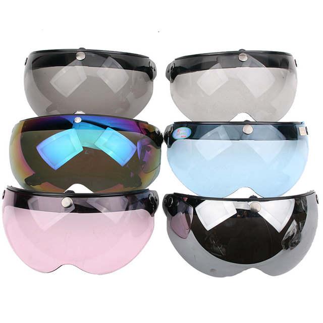b7549fc4e070c placeholder Hot sale Vintage helmet half face visor lens 3 buttons W shield  visor mirror Anti-