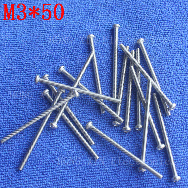 M3*50 1pcs 304 Stainless Steel Screw 50mm Round Head Screws Phillips Crosshead Thread Bolt Brand new high-quality fastener tools