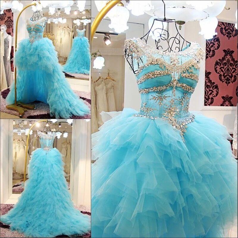 Robe de Bal À Volants Tulle Cristal Perlé Diamant De Luxe Bleu Robes De Soirée 2019 Nouveau Parti Mode Robes Robe Robe De Soirée CH41M