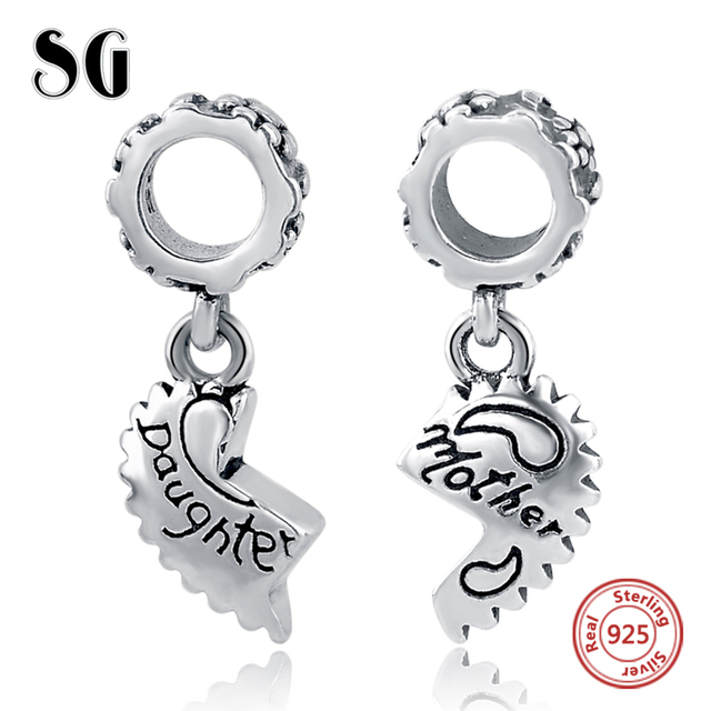 70ce5a04ef7f7 US $10.39 8% OFF|Sterling Silver Daughter Mother Love Heart Pendant Bead  Fit Authentic Pandora Charms Bracelet Silver 925 Original Berloque Gifts-in  ...