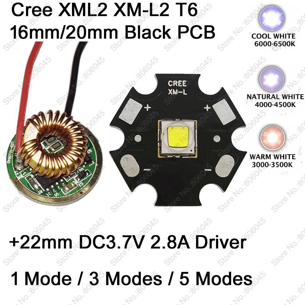 Cree XM-L2 T6 10 W Cool Blanc Neutre Blanc Chaud Blanc LED Émetteur 16mm/20mm PCB + 22mm DC3.7V 2.8A 1 Mode/3 Mode/5 Mode pilote