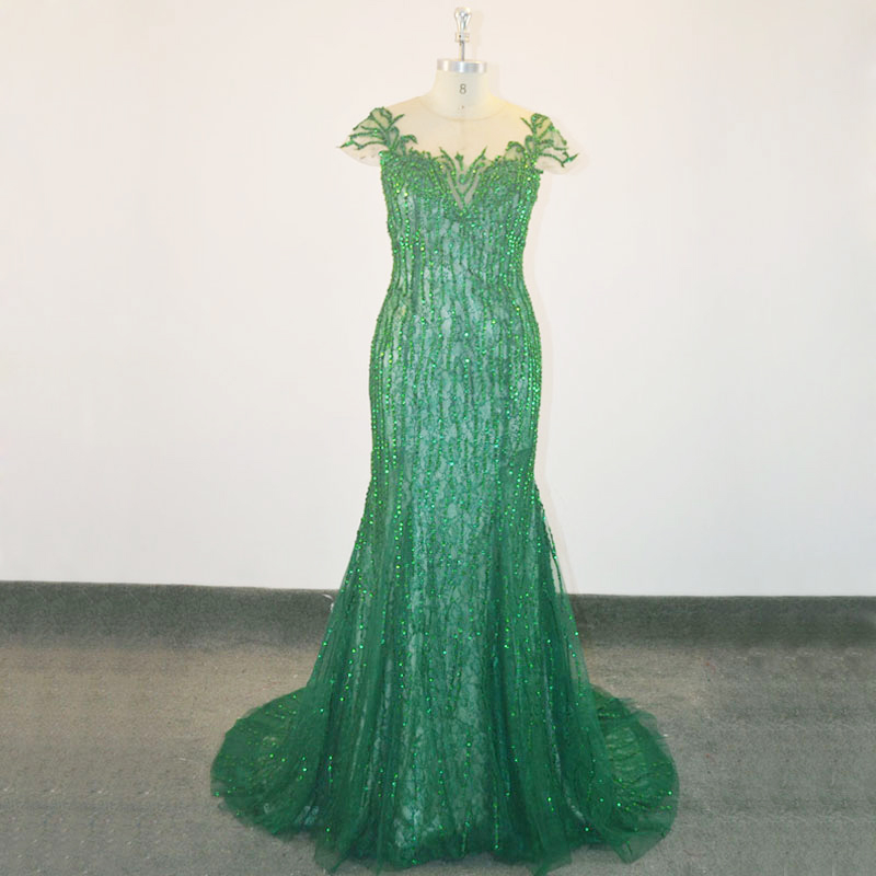 New Arrival Sparkles Robe Soiree Tulle Shiny Long Mermaid High Neck Emerald Green Prom Dress